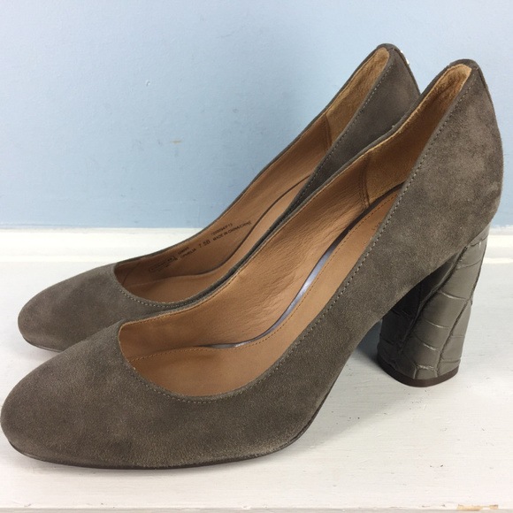 22f2ad7e0 Coach Shoes | Ophelia 75 Gray Suede Snake Embossed Heels | Poshmark